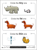 Circle the animal that is tiny. Circle the animal that is fat, and circle the animal that is thin.