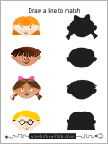 Draw a line from each head to each sillouette.